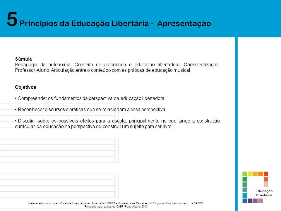 5 Princípios da Educação Libertária - Apresentação Educação Braslieira Material elaborado para o Curso de Licenciatura em Música da UFRGS e Universida