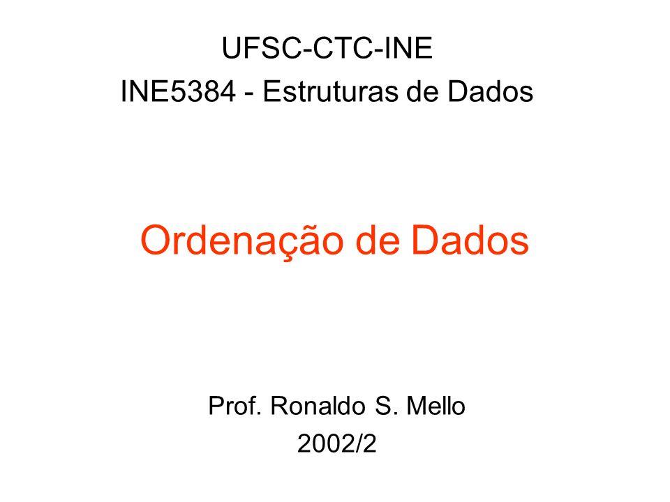 Ordenação de Dados UFSC-CTC-INE INE5384 - Estruturas de Dados Prof. Ronaldo S. Mello 2002/2