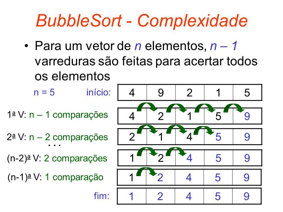BubbleSort - Complexidade Para um vetor de n elementos, n – 1 varreduras são feitas para acertar todos os elementos 49215 n = 5 42159 21459 12459 1245