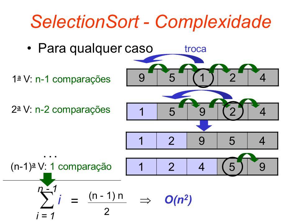 SelectionSort - Complexidade Para qualquer caso 95124 15924 12954 12459 1 a V: n-1 comparações 2 a V: n-2 comparações... (n-1) a V: 1 comparação i = 1