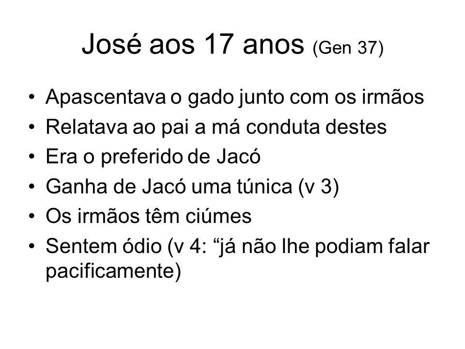 Sonhos de José (V 5 – 11) 1 – Feixes que se inclinam ao seu, que fica em pé 2 – O sol, a lua e 11 estrelas se inclinam perante ele A repreensão