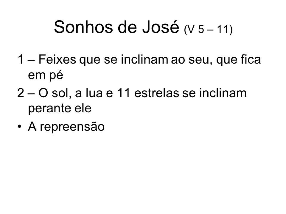 A venda de José aos Ismaelitas (v12-36) Os irmãos conspiram para matá-lo Rúben convencê-os a jogá-lo no poço (sua intenção era resgatá-lo depois) Na ausência de Rúben é vendido Molham sua túnica em sangue de animal e enviam-na ao pai (falta de compaixão para com Jacó) A dor de Jacó Os ismaelitas vendem José a Potifar – oficial do Faraó, encarregado da custódia de prisoneiros reais