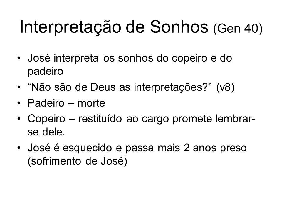 Interpretação de Sonhos (Gen 40) José interpreta os sonhos do copeiro e do padeiro Não são de Deus as interpretações? (v8) Padeiro – morte Copeiro – r