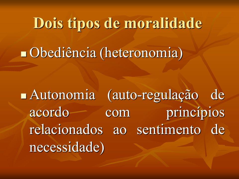 Dois tipos de moralidade Obediência (heteronomia) Obediência (heteronomia) Autonomia (auto-regulação de acordo com princípios relacionados ao sentimen