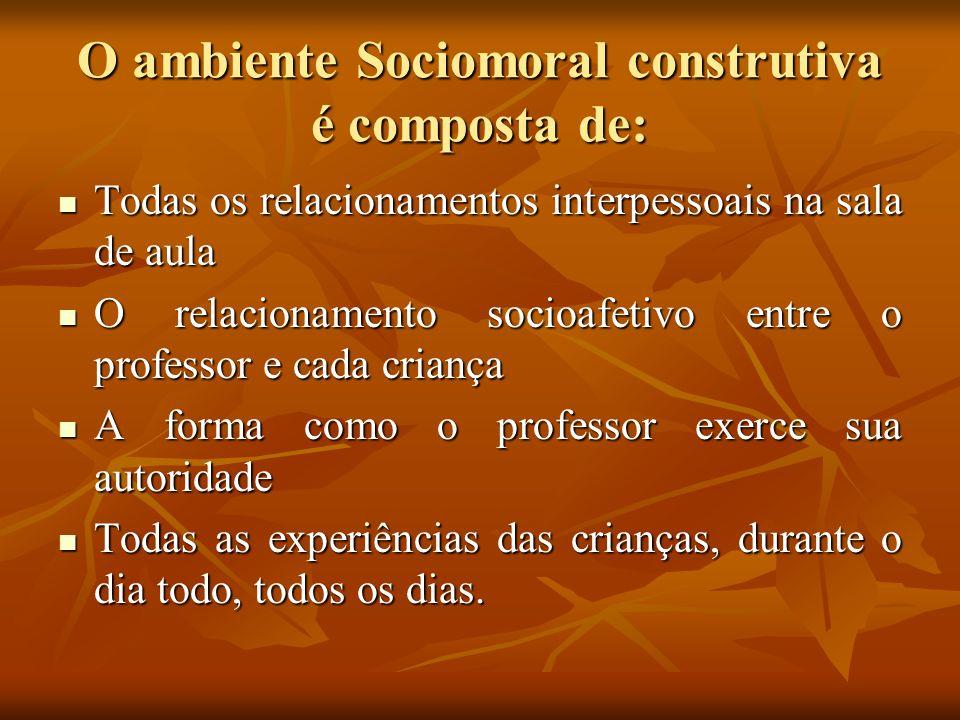 O ambiente Sociomoral construtiva é composta de: Todas os relacionamentos interpessoais na sala de aula Todas os relacionamentos interpessoais na sala