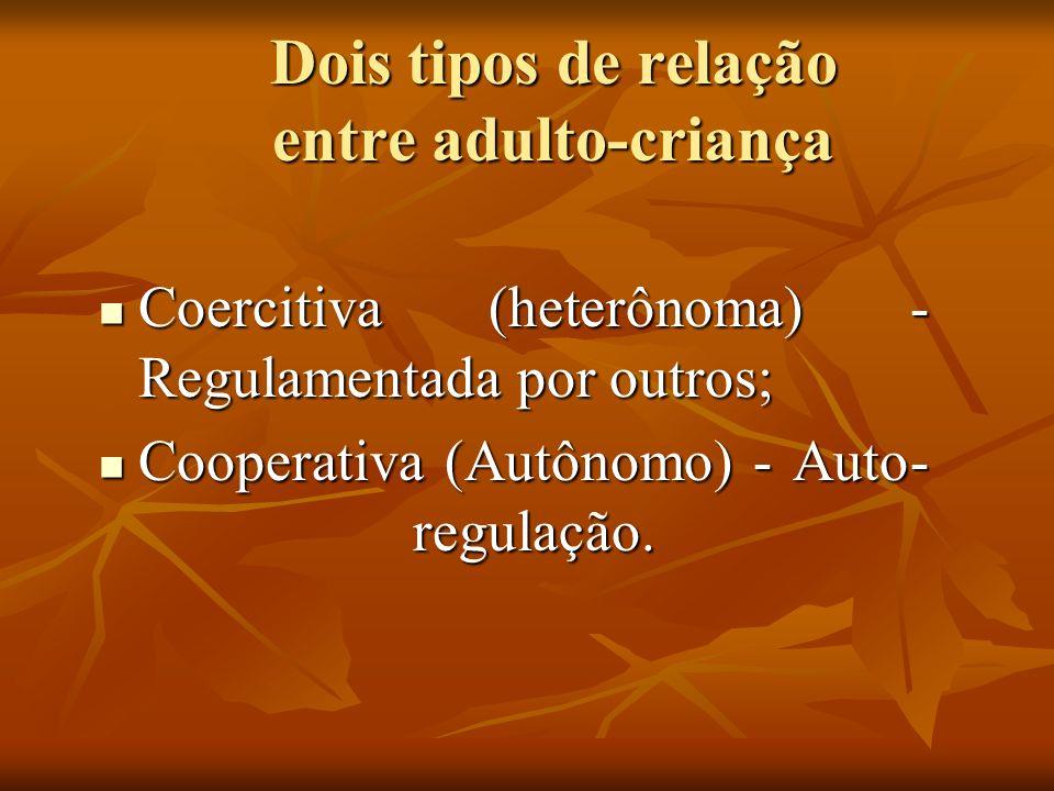 Dois tipos de relação entre adulto-criança Coercitiva (heterônoma) - Regulamentada por outros; Coercitiva (heterônoma) - Regulamentada por outros; Coo