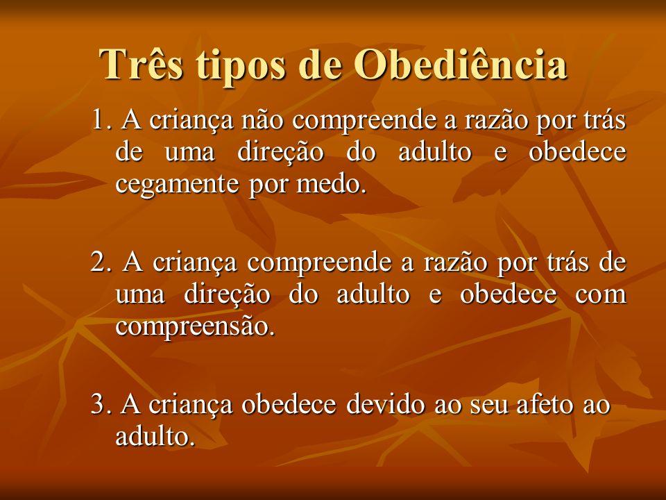 Três tipos de Obediência 1. A criança não compreende a razão por trás de uma direção do adulto e obedece cegamente por medo. 2. A criança compreende a