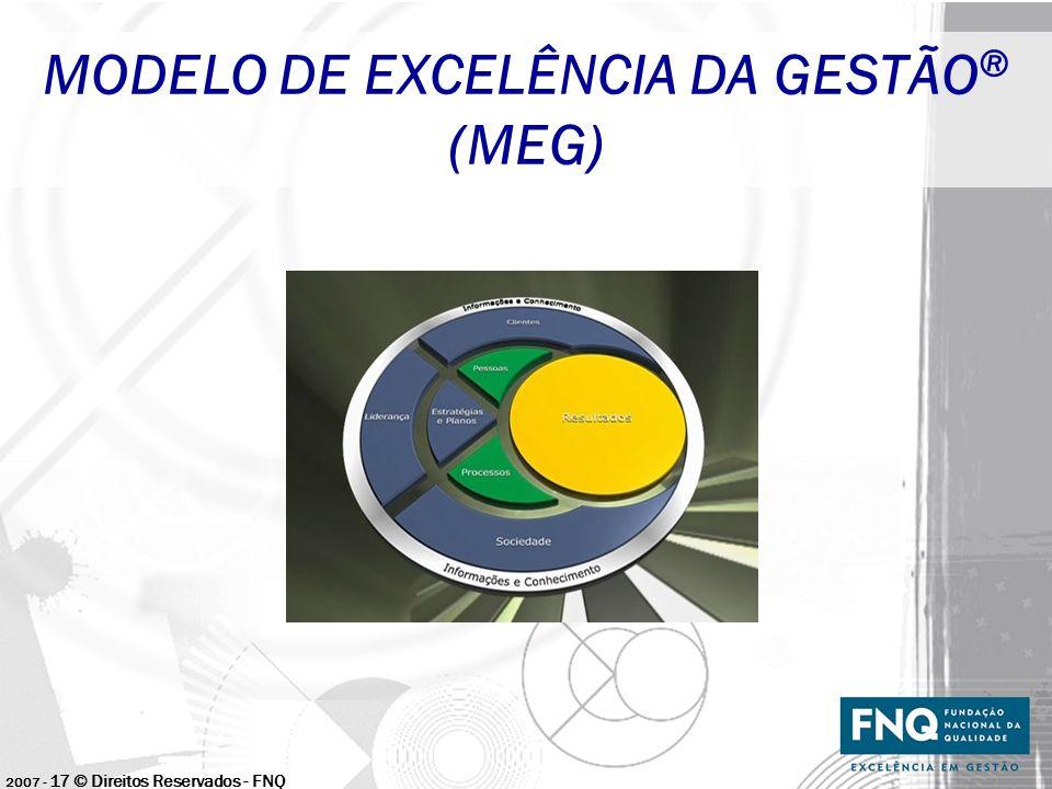 2007 - 17 © Direitos Reservados - FNQ MODELO DE EXCELÊNCIA DA GESTÃO ® (MEG)