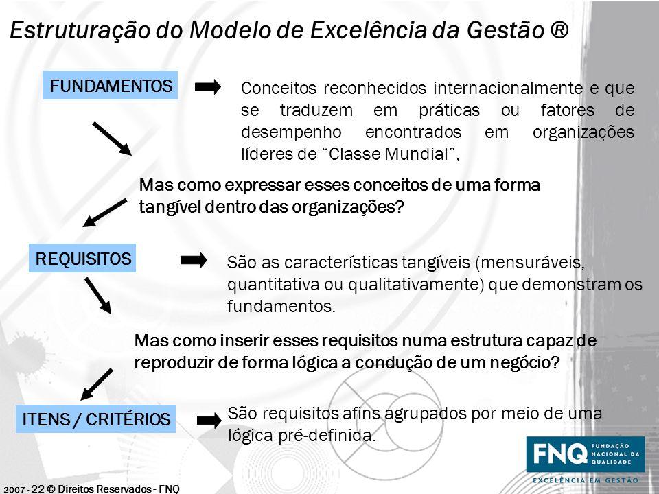 2007 - 22 © Direitos Reservados - FNQ Estruturação do Modelo de Excelência da Gestão ® FUNDAMENTOS Conceitos reconhecidos internacionalmente e que se