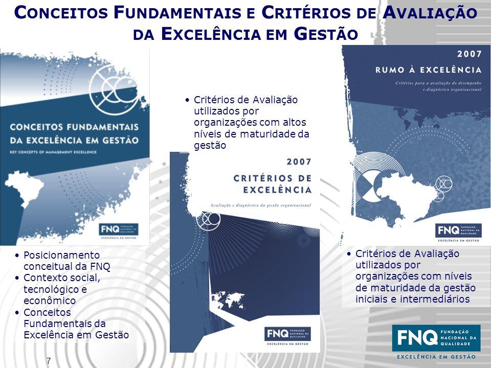 7 Posicionamento conceitual da FNQ Contexto social, tecnológico e econômico Conceitos Fundamentais da Excelência em Gestão C ONCEITOS F UNDAMENTAIS E