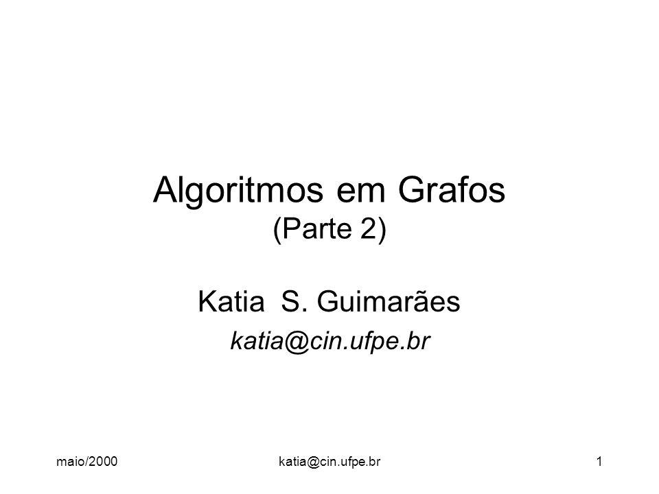 maio/2000katia@cin.ufpe.br12 Algoritmo Distâncias com Pesos Abordagem Algoritmo Guloso (Indução) - Inicialmente, só é conhecida uma solução trivial, para 0 ou 1 elemento do conjunto (no caso,D(v, v)).