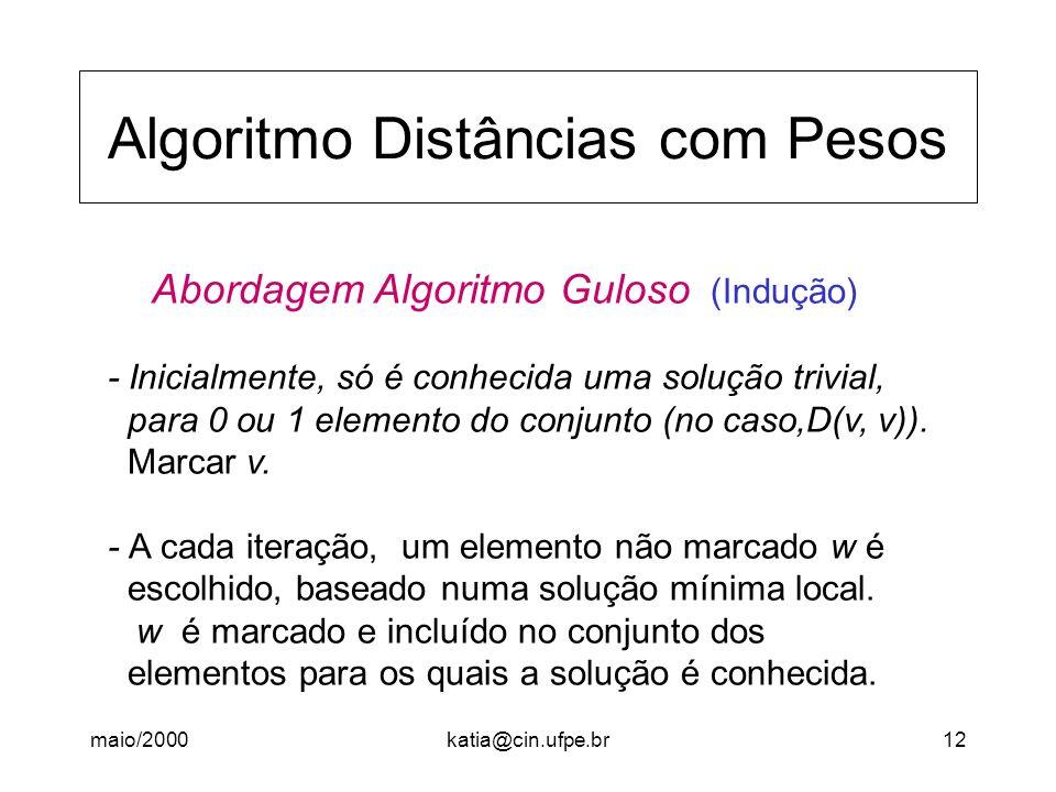 maio/2000katia@cin.ufpe.br12 Algoritmo Distâncias com Pesos Abordagem Algoritmo Guloso (Indução) - Inicialmente, só é conhecida uma solução trivial, p