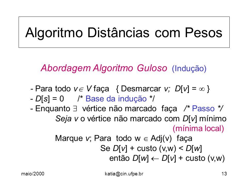 maio/2000katia@cin.ufpe.br13 Algoritmo Distâncias com Pesos Abordagem Algoritmo Guloso (Indução) - Para todo v V faça { Desmarcar v; D[v] = } - D[s] =