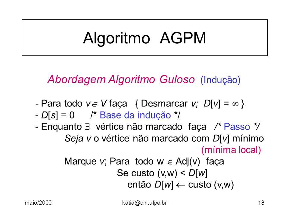 maio/2000katia@cin.ufpe.br18 Algoritmo AGPM Abordagem Algoritmo Guloso (Indução) - Para todo v V faça { Desmarcar v; D[v] = } - D[s] = 0 /* Base da in