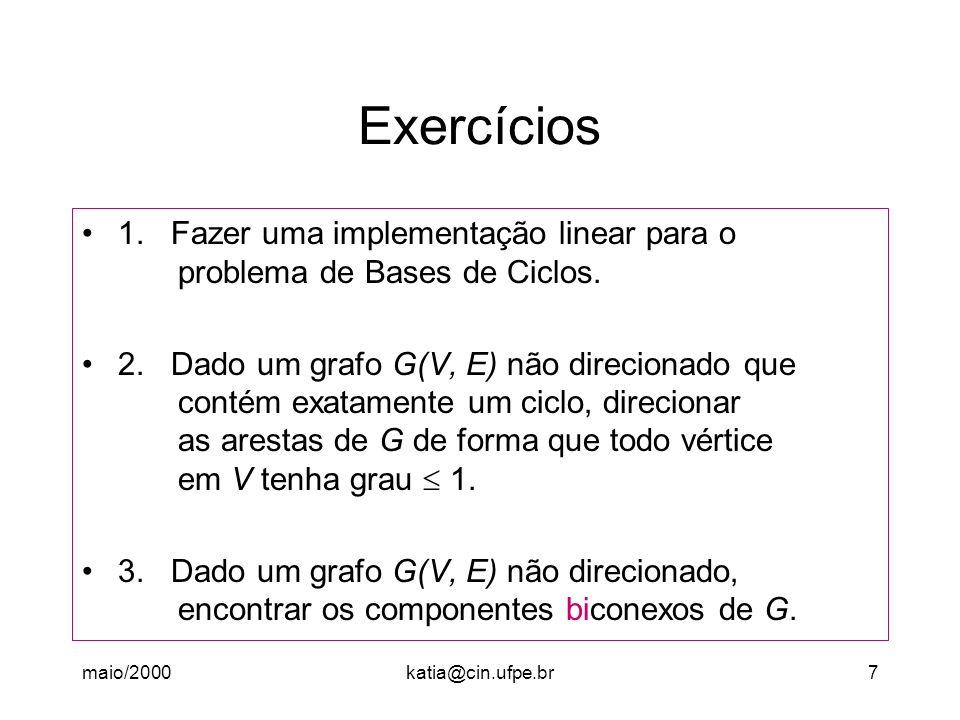 maio/2000katia@cin.ufpe.br18 Algoritmo AGPM Abordagem Algoritmo Guloso (Indução) - Para todo v V faça { Desmarcar v; D[v] = } - D[s] = 0 /* Base da indução */ - Enquanto vértice não marcado faça /* Passo */ Seja v o vértice não marcado com D[v] mínimo (mínima local) Marque v; Para todo w Adj(v) faça Se custo (v,w) < D[w] então D[w] custo (v,w)