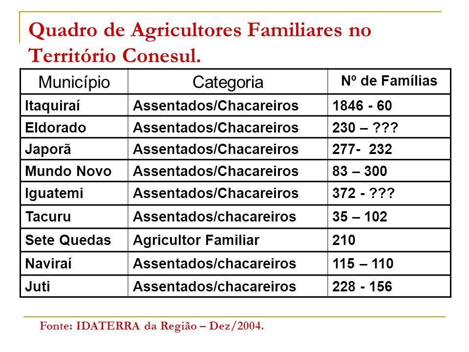 Quadro de Agricultores Familiares no Território Conesul. MunicípioCategoria Nº de Famílias ItaquiraíAssentados/Chacareiros1846 - 60 EldoradoAssentados