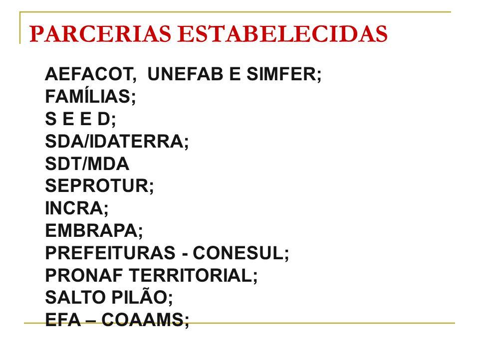 PARCERIAS ESTABELECIDAS AEFACOT, UNEFAB E SIMFER; FAMÍLIAS; S E E D; SDA/IDATERRA; SDT/MDA SEPROTUR; INCRA; EMBRAPA; PREFEITURAS - CONESUL; PRONAF TER