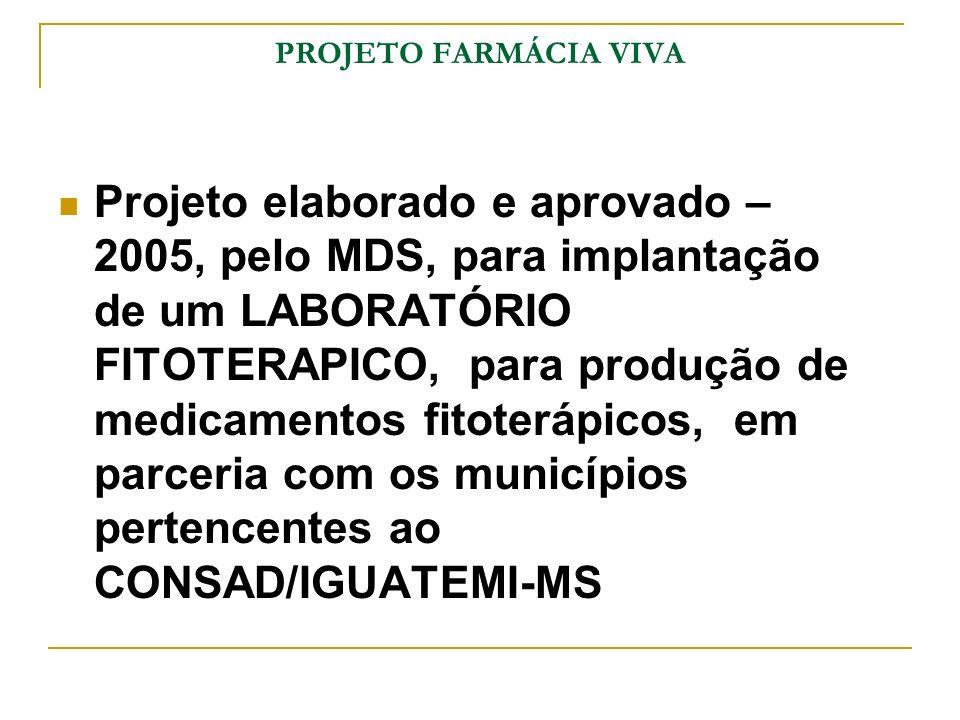 PROJETO FARMÁCIA VIVA Projeto elaborado e aprovado – 2005, pelo MDS, para implantação de um LABORATÓRIO FITOTERAPICO, para produção de medicamentos fi
