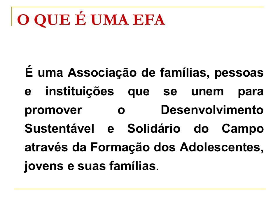 O QUE É UMA EFA É uma Associação de famílias, pessoas e instituições que se unem para promover o Desenvolvimento Sustentável e Solidário do Campo atra