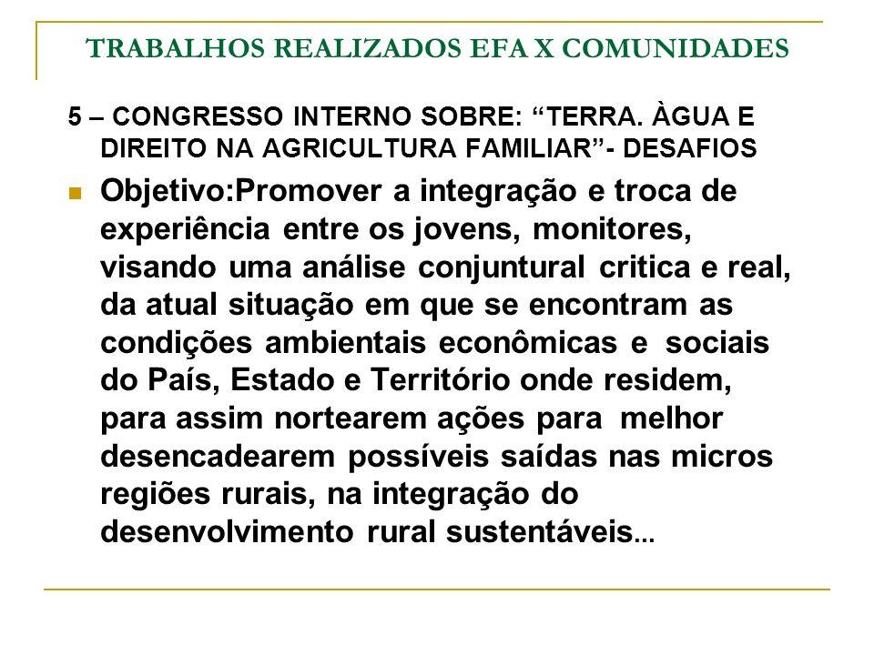 TRABALHOS REALIZADOS EFA X COMUNIDADES 5 – CONGRESSO INTERNO SOBRE: TERRA. ÀGUA E DIREITO NA AGRICULTURA FAMILIAR- DESAFIOS Objetivo:Promover a integr