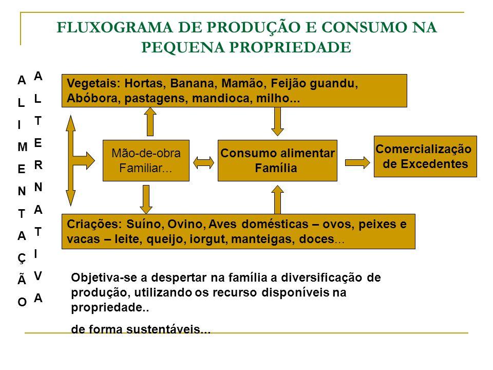 FLUXOGRAMA DE PRODUÇÃO E CONSUMO NA PEQUENA PROPRIEDADE Vegetais: Hortas, Banana, Mamão, Feijão guandu, Abóbora, pastagens, mandioca, milho... Criaçõe