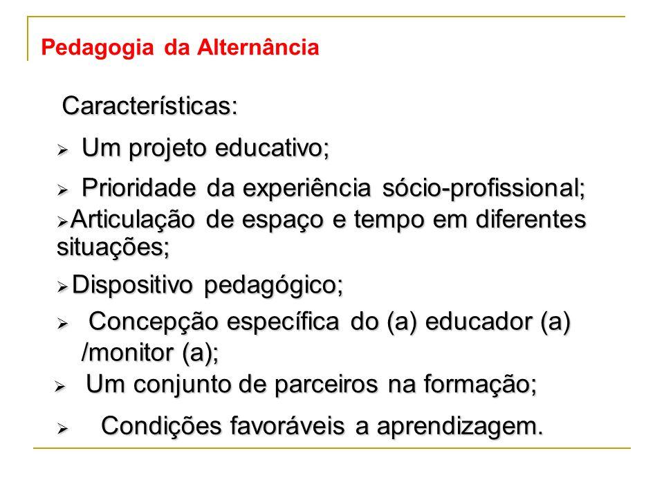 Pedagogia da Alternância Condições favoráveis a aprendizagem. Condições favoráveis a aprendizagem. Características: Um projeto educativo; Um projeto e