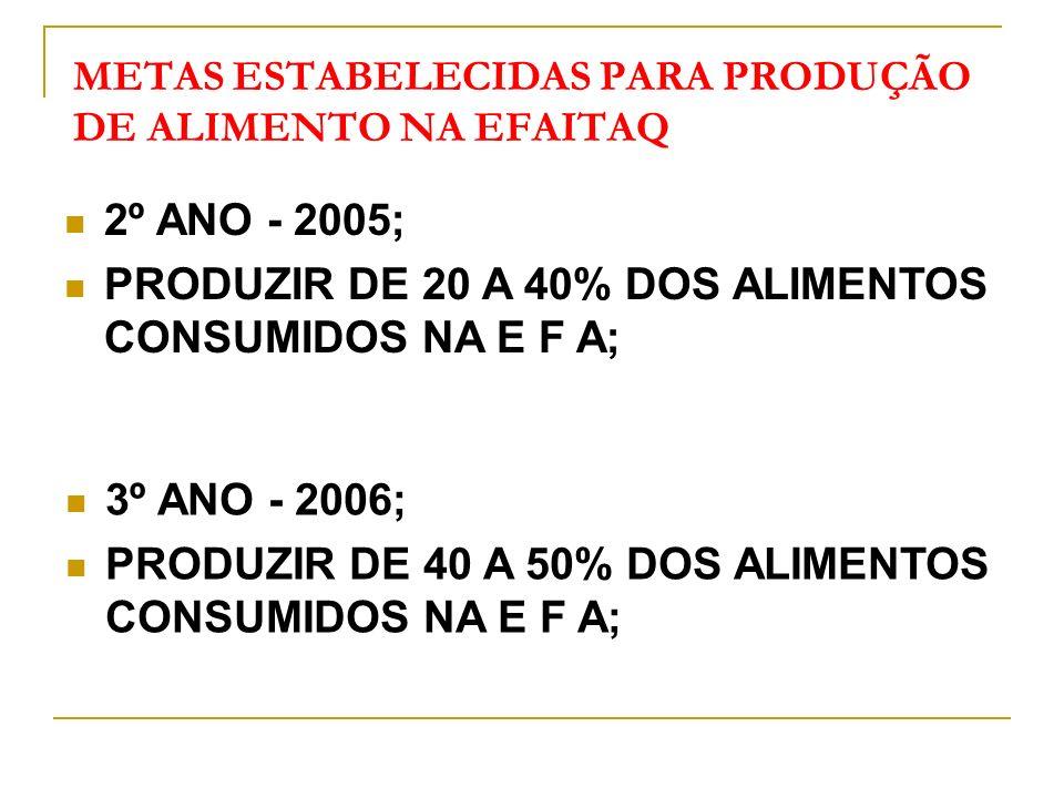 METAS ESTABELECIDAS PARA PRODUÇÃO DE ALIMENTO NA EFAITAQ 2º ANO - 2005; PRODUZIR DE 20 A 40% DOS ALIMENTOS CONSUMIDOS NA E F A; 3º ANO - 2006; PRODUZI