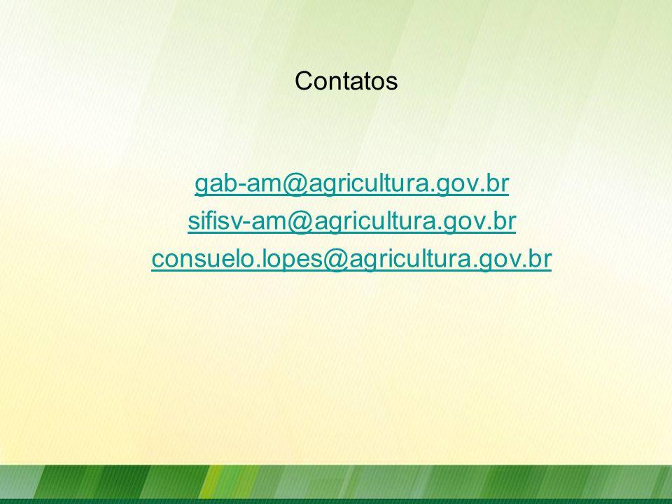 Contatos gab-am@agricultura.gov.br sifisv-am@agricultura.gov.br consuelo.lopes@agricultura.gov.br