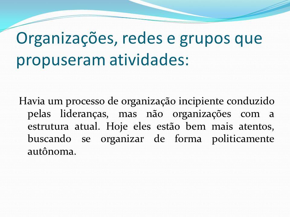 Organizações, redes e grupos que propuseram atividades: Havia um processo de organização incipiente conduzido pelas lideranças, mas não organizações c