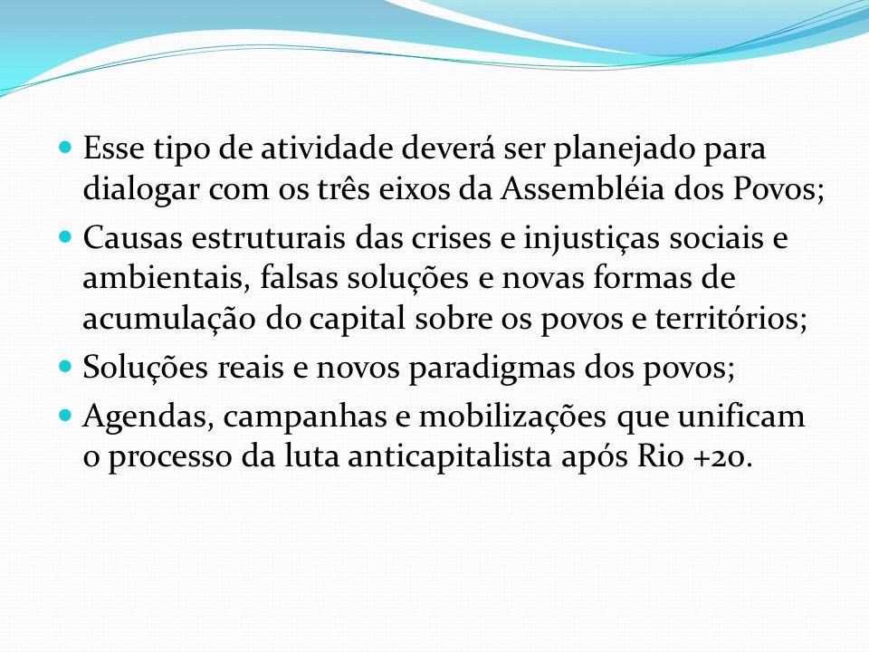 Esse tipo de atividade deverá ser planejado para dialogar com os três eixos da Assembléia dos Povos; Causas estruturais das crises e injustiças sociai