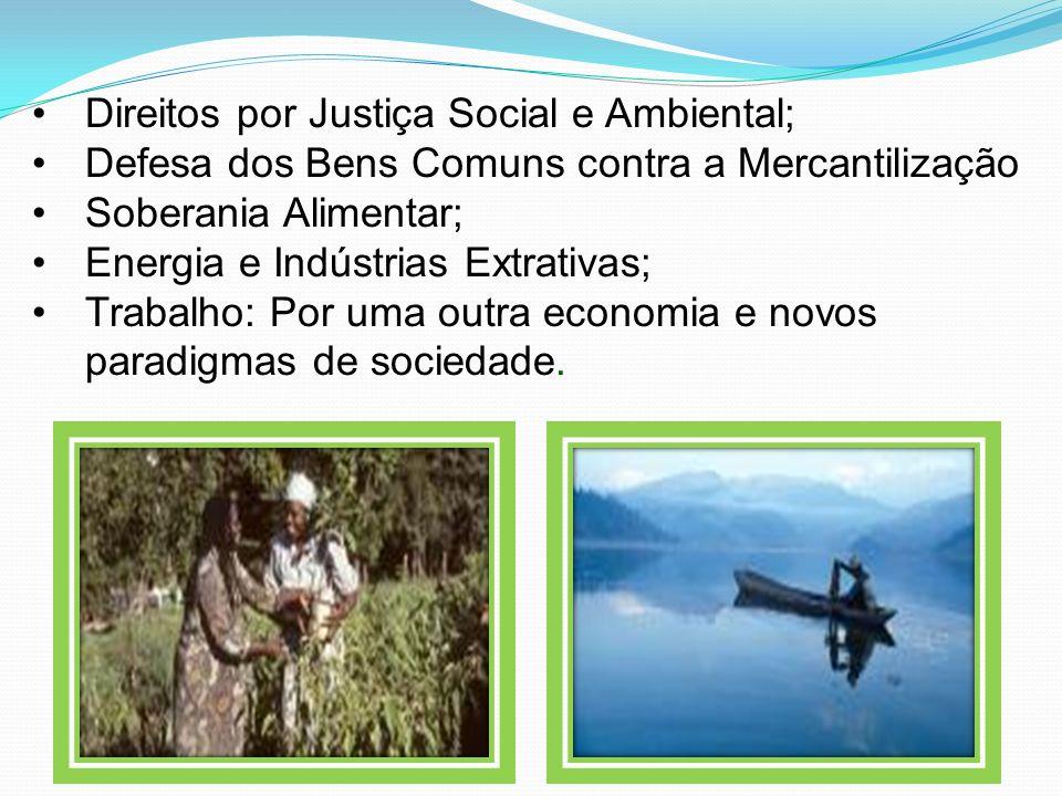 Direitos por Justiça Social e Ambiental; Defesa dos Bens Comuns contra a Mercantilização Soberania Alimentar; Energia e Indústrias Extrativas; Trabalh