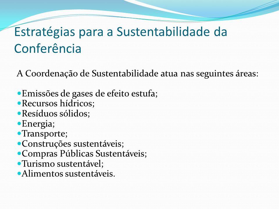 Estratégias para a Sustentabilidade da Conferência A Coordenação de Sustentabilidade atua nas seguintes áreas: Emissões de gases de efeito estufa; Rec