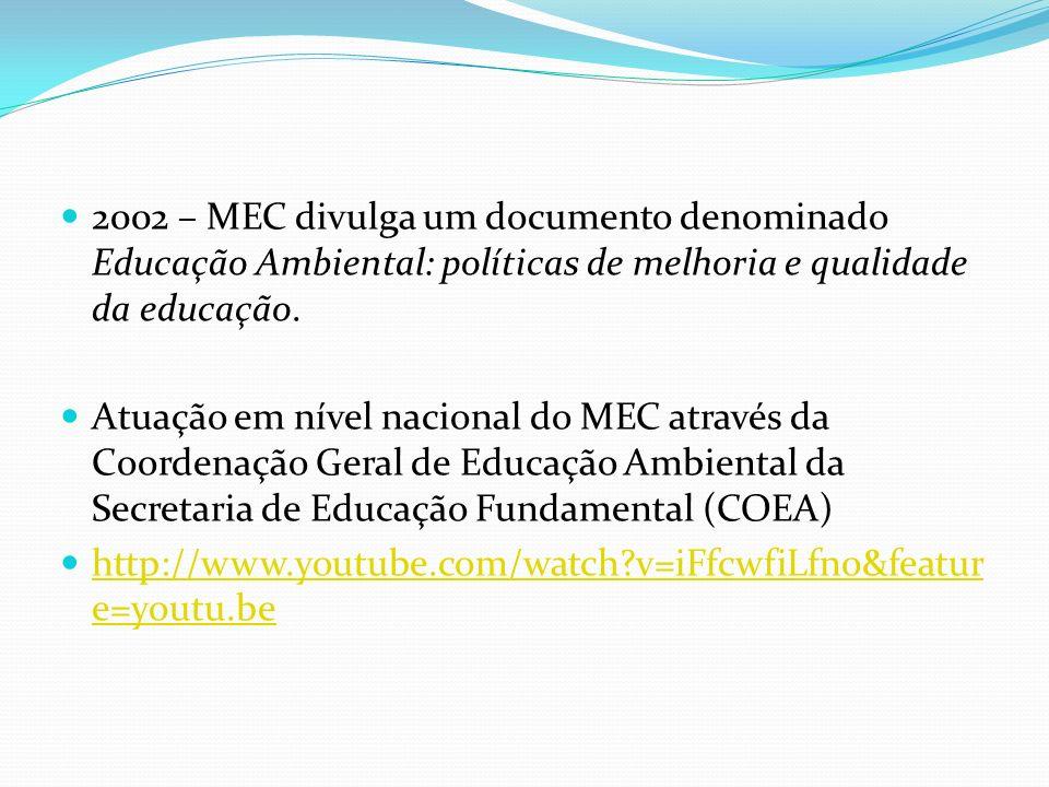 2002 – MEC divulga um documento denominado Educação Ambiental: políticas de melhoria e qualidade da educação. Atuação em nível nacional do MEC através