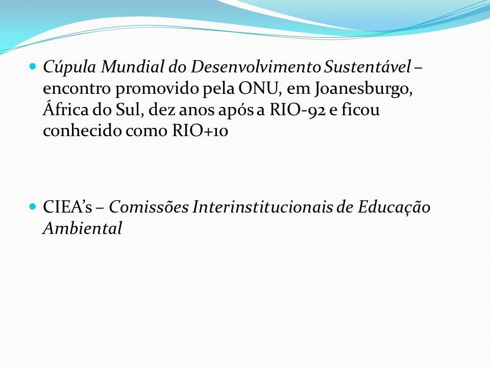Cúpula Mundial do Desenvolvimento Sustentável – encontro promovido pela ONU, em Joanesburgo, África do Sul, dez anos após a RIO-92 e ficou conhecido c