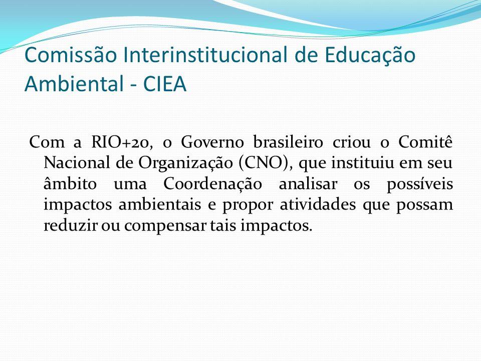 Comissão Interinstitucional de Educação Ambiental - CIEA Com a RIO+20, o Governo brasileiro criou o Comitê Nacional de Organização (CNO), que institui