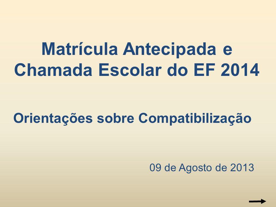 09 de Agosto de 2013 Matrícula Antecipada e Chamada Escolar do EF 2014 Orientações sobre Compatibilização