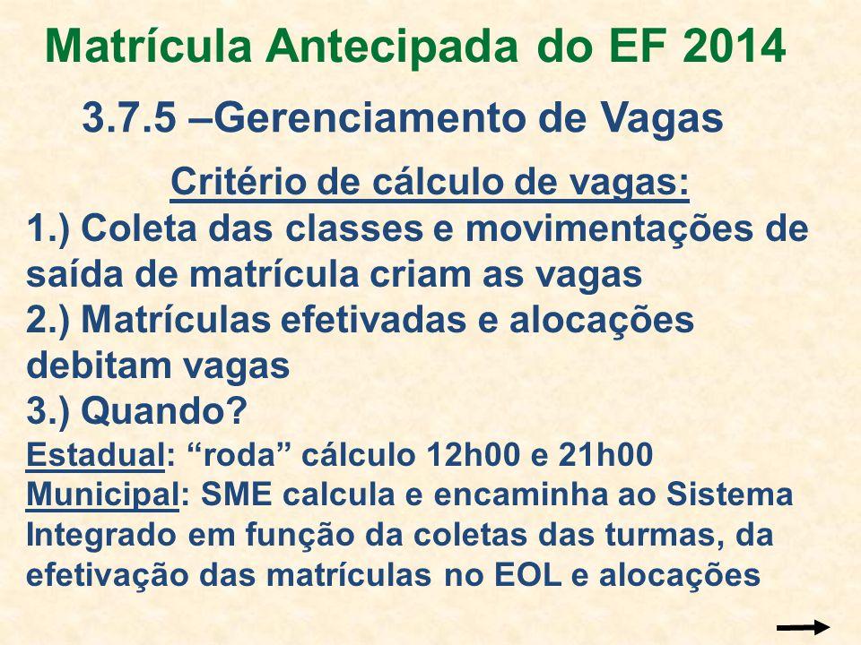 Matrícula Antecipada do EF 2014 3.7.5 –Gerenciamento de Vagas Critério de cálculo de vagas: 1.) Coleta das classes e movimentações de saída de matrícu