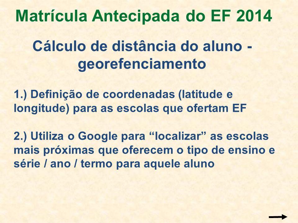 1.) Definição de coordenadas (latitude e longitude) para as escolas que ofertam EF 2.) Utiliza o Google para localizar as escolas mais próximas que of