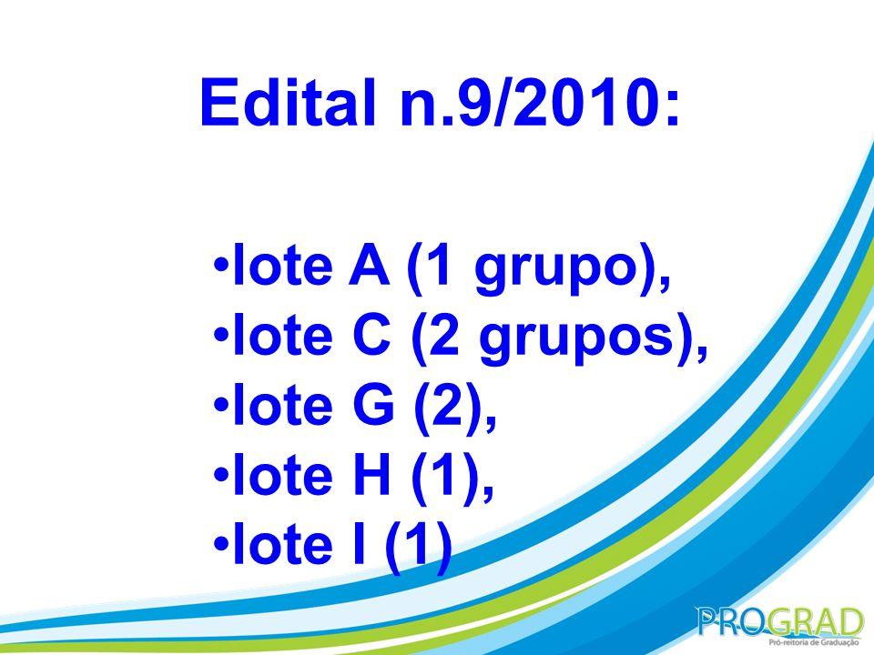 Edital n.9/2010: lote A (1 grupo), lote C (2 grupos), lote G (2), lote H (1), lote I (1)