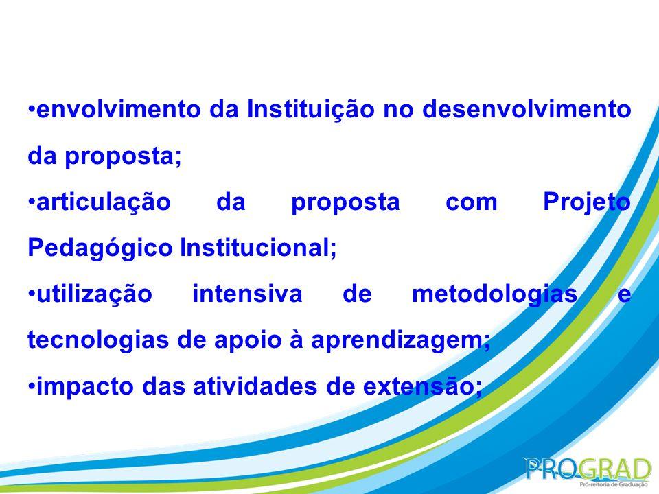 envolvimento da Instituição no desenvolvimento da proposta; articulação da proposta com Projeto Pedagógico Institucional; utilização intensiva de meto