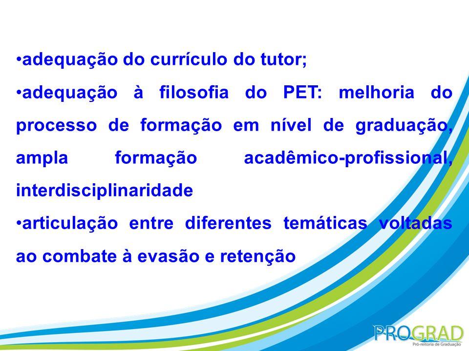adequação do currículo do tutor; adequação à filosofia do PET: melhoria do processo de formação em nível de graduação, ampla formação acadêmico-profis