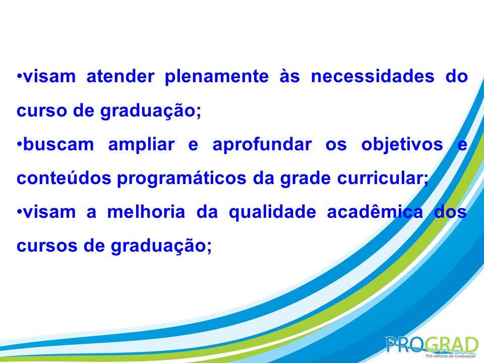 visam atender plenamente às necessidades do curso de graduação; buscam ampliar e aprofundar os objetivos e conteúdos programáticos da grade curricular