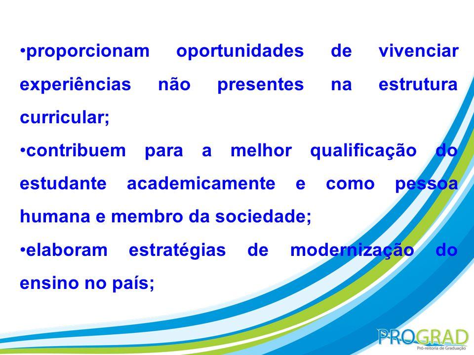 proporcionam oportunidades de vivenciar experiências não presentes na estrutura curricular; contribuem para a melhor qualificação do estudante academi