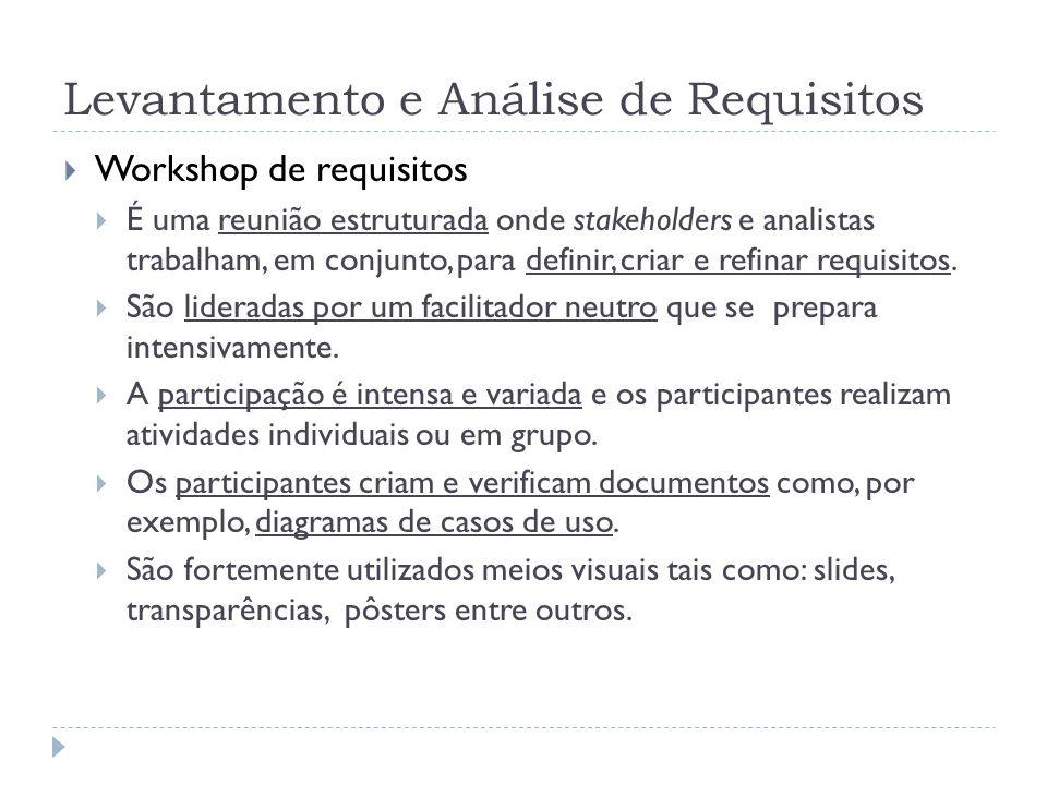 Levantamento e Análise de Requisitos Workshop de requisitos É uma reunião estruturada onde stakeholders e analistas trabalham, em conjunto, para defin