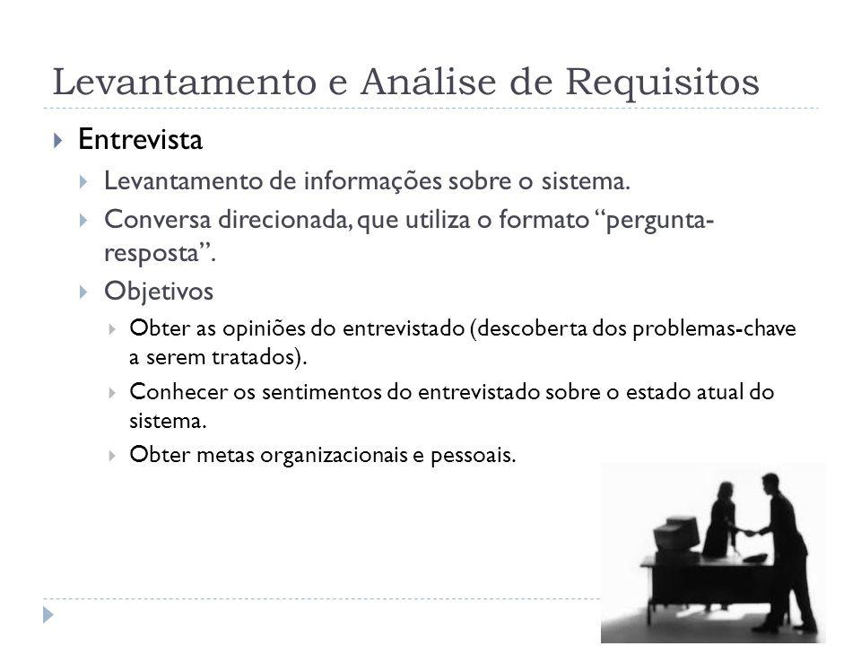 Levantamento e Análise de Requisitos Entrevista Levantamento de informações sobre o sistema. Conversa direcionada, que utiliza o formato pergunta- res