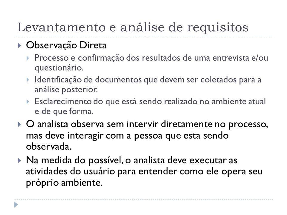 Levantamento e análise de requisitos Observação Direta Processo e confirmação dos resultados de uma entrevista e/ou questionário. Identificação de doc