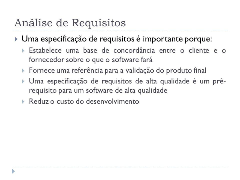 Análise de Requisitos Uma especificação de requisitos é importante porque: Estabelece uma base de concordância entre o cliente e o fornecedor sobre o