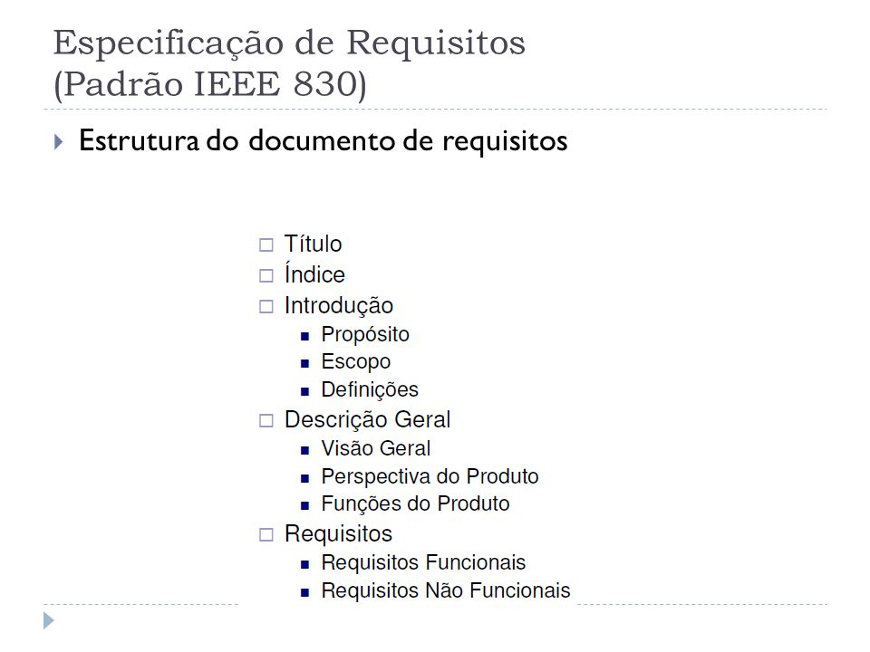 Especificação de Requisitos (Padrão IEEE 830) Estrutura do documento de requisitos