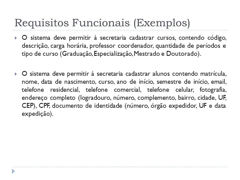 Requisitos Funcionais (Exemplos) O sistema deve permitir à secretaria cadastrar cursos, contendo código, descrição, carga horária, professor coordenad