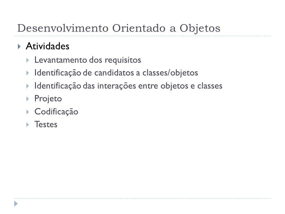 Desenvolvimento Orientado a Objetos Atividades Levantamento dos requisitos Identificação de candidatos a classes/objetos Identificação das interações
